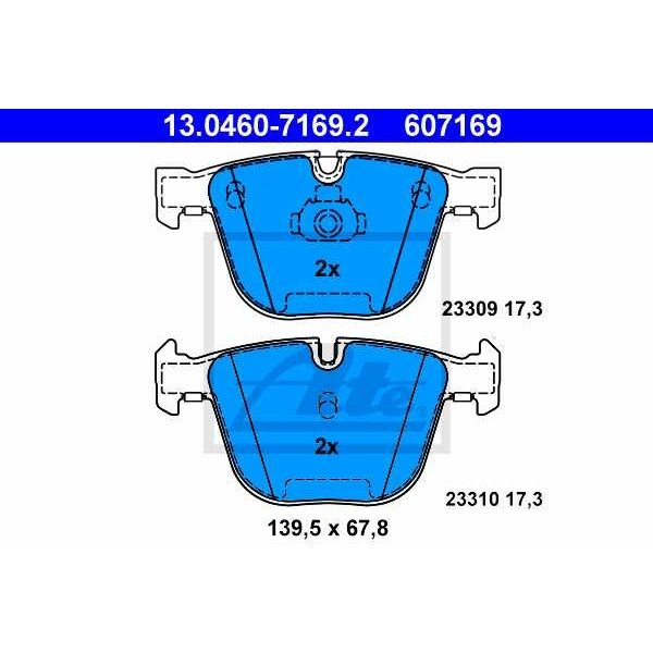 Set Placute Frana Spate Ate Bmw Seria 7 E65, E66, E67 2001-2009 13.0460-7169.2