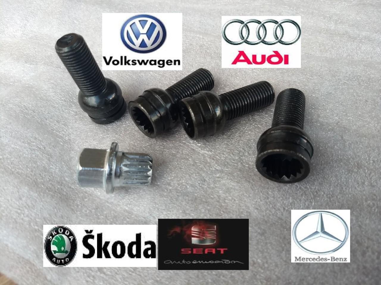 Set Prezoane antifurt + cheie Audi  Vw Golf, Passat, Jetta, Bora