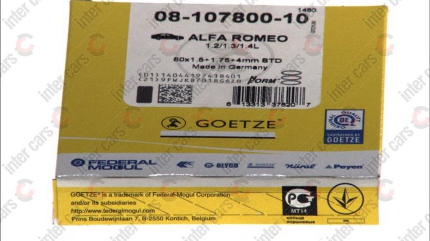 Set segmenti piston ALFA ROMEO ALFASUD Sprint 902.A Producator GOETZE ENGINE 08-107800-10