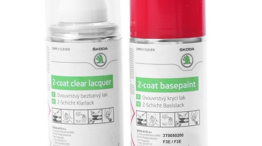 Set Spray Vopsea + Lac Oe Skoda Red Rio Metallic F3L/6X6X 3T0050200AF3L