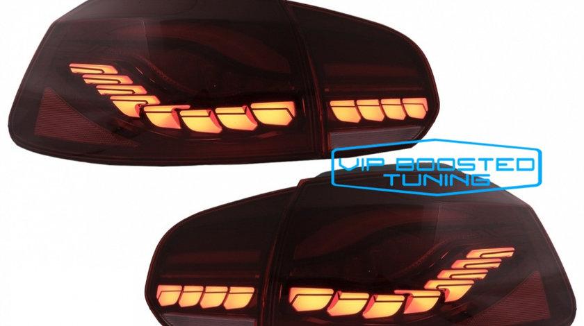 Set Stopuri tuning OLED VW Golf 6 VI (2008-2013) Rosu Fumuriu cu Semnal Dinamic