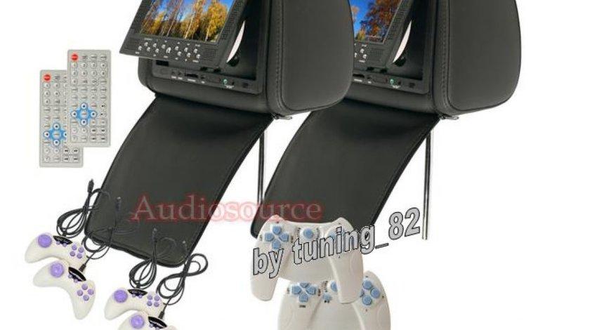 SET Tetiere NEGRE Cu Dvd Husa Usb Sd Divx Jocuri Modulator Fm Joystick Wireless