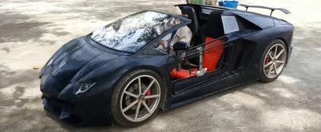Si-a construit un Lamborghini in spatele casei. Masina are suspensie reglabila si plafon decapotabil la buton