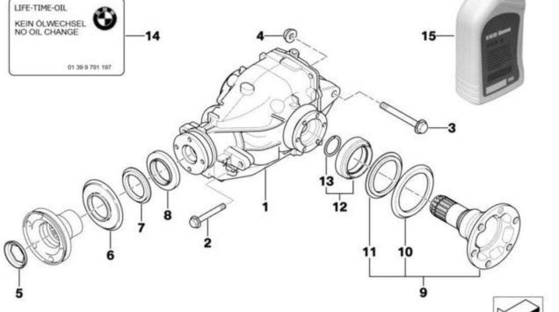 Simering flansa planetara grup punte spate BMW seria 3 E36 (poz.12) CORTECO 33107505603