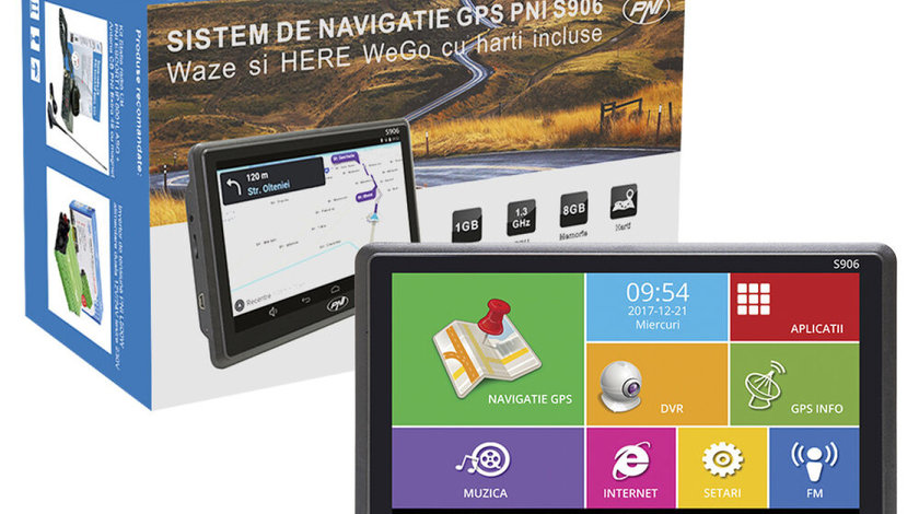 "Sistem de navigatie portabil GPS DVR PNI S906 ANDROID Diagonala 7"" Harti Here Maps si Waze cu Radare"