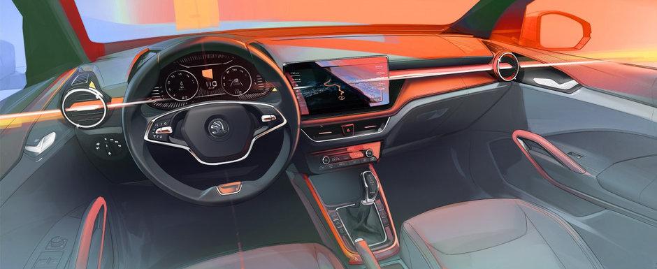 SKODA pregateste o noua generatie pentru cea mai ieftina masina pe care o vinde acum. Cehii tocmai au publicat prima imagine de la INTERIOR