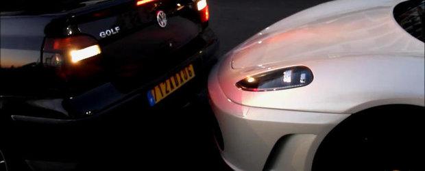 Soferul unui VW Golf Cabrio loveste un Ferrari de patru ori