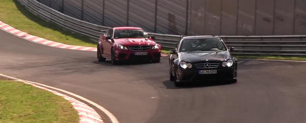 Spectacol la Nurburgring: Mercedes C63 Black Series vs CLK63 Black Series