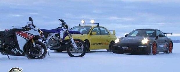 Sporturi extreme de iarna: cu 258 km/h pe gheata