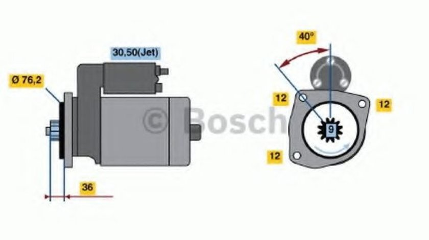 Starter SEAT TOLEDO I (1L) (1991 - 1999) BOSCH 0 001 125 035 produs NOU