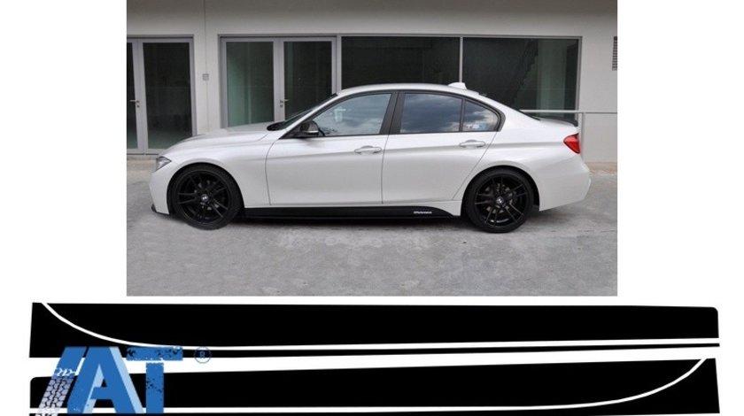 Stickere Laterale Negru Mat compatibil cu BMW Seria 3 F30 F31 (2011-up) M-Performance Design Negru Mat
