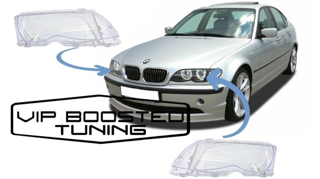 Sticle sticla Faruri far DEPO +garnituri BMW Seria 3 E46 LCI Facelift (2001-2004)