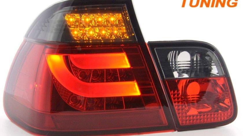 STOPURI FIBRA OPTICA BMW 3ER E46 02-05 LIMOUSINE – FUNDAL ROSU FUMURIU