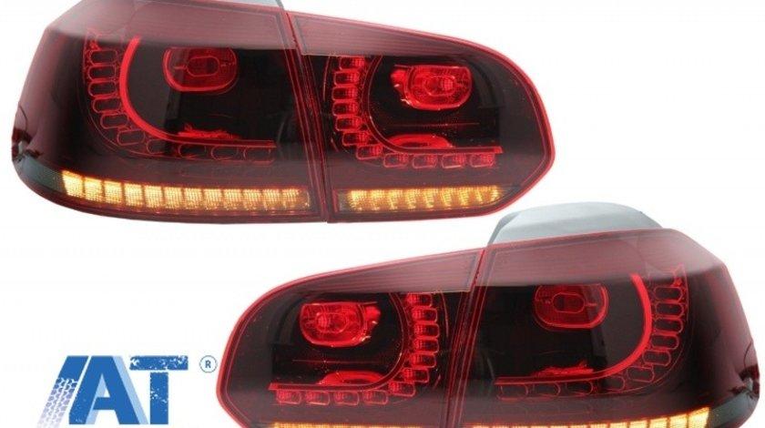 Stopuri Full LED compatibil cu VW Golf 6 VI (2008-2013) R20 Design Rosu Fumuriu cu Semnal Dinamic