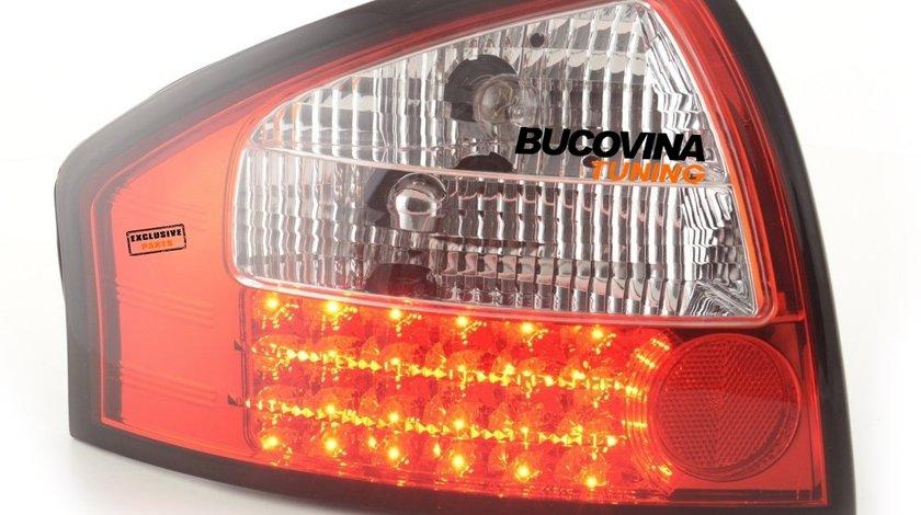 STOPURI LED AUDI A6 4B LIMOUSINE (97-04) - FUNDAL ROSU CRISTAL