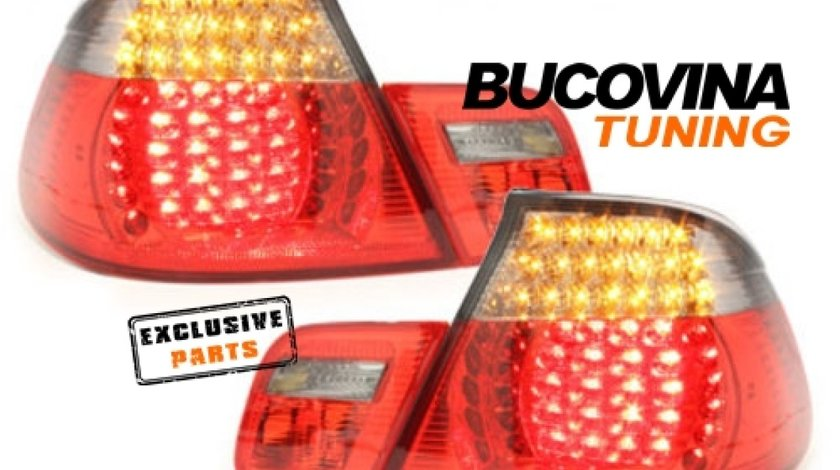 STOPURI LED BMW 3er E46 COUPE 98-03– FUNDAL ROSU FUMURIU