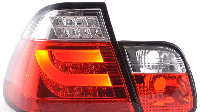 Stopuri LED Fibra Optica BMW E46 Seria 3 Limousine Rosu Cristal