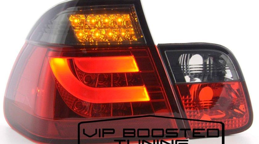 Stopuri LED FIBRA OPTICA BMW Seria 3 E46 LCI (2002-2005) Rosu/Fumuriu 4 Usi