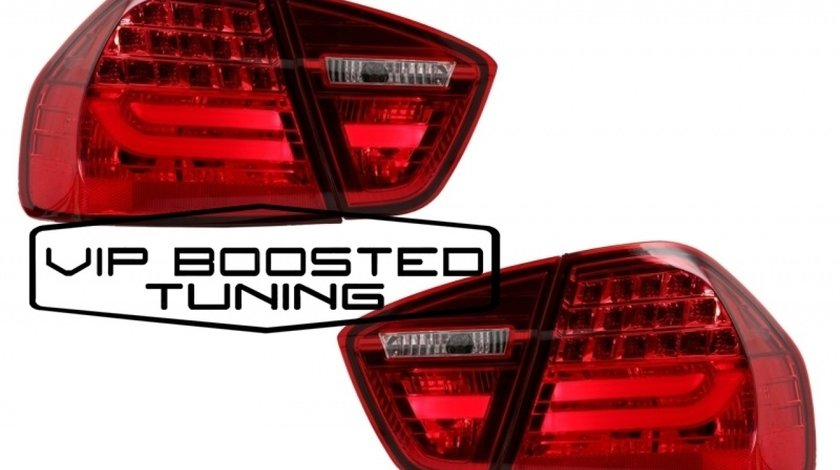 Stopuri LED Light Bar LCI Design BMW E90 Seria 3 Limuzina (2005-2008) Rosu Fumuriu