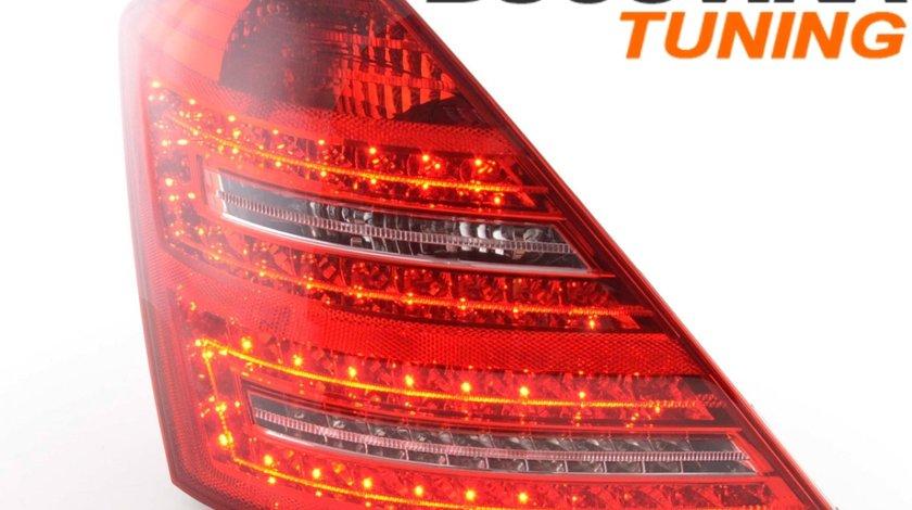 STOPURI LED MERCEDES BENZ W221 S CLASS 07-09 - FUNDAL ROSU CRISTAL