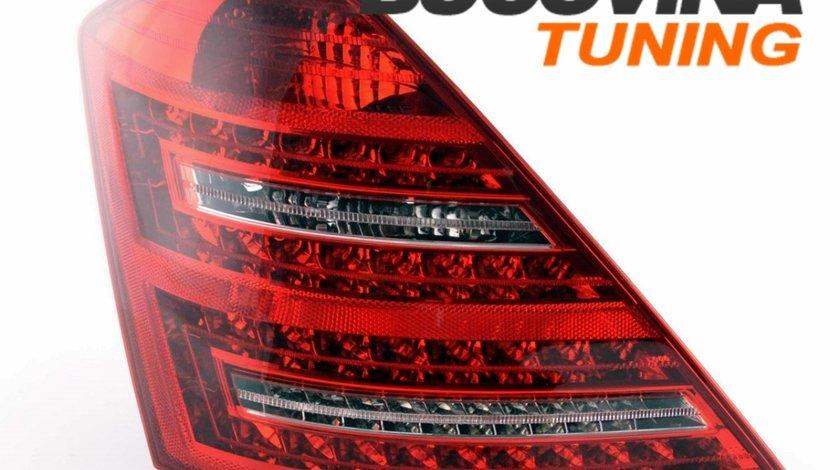 STOPURI LED MERCEDES BENZ W221 S CLASS 07-09 - FUNDAL ROSU FUMURIU