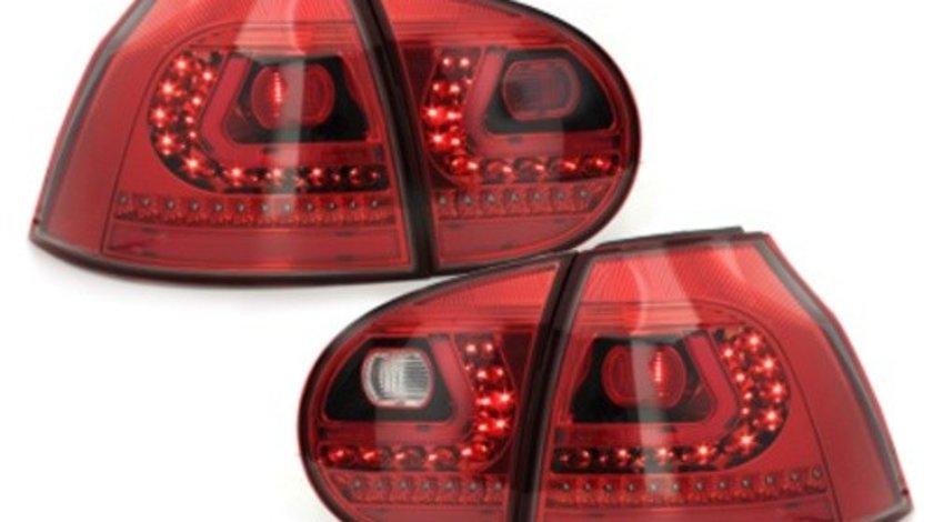 Stopuri LITEC LED compatibil cu VW Golf V 03-09 rosu/cristal
