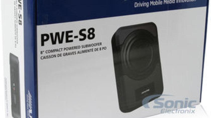 Subwoofer Auto Activ Alpine PWE-S8 Model Underseat (sub scaun) 8'' 20 cm 120W Telecomanda Bass / Vol