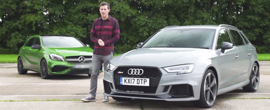 Sunt cele mai puternice hatch-uri ale planetei. Test comparativ intre Audi RS3 Sportback si Mercedes A45 AMG
