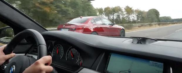 Sunt doua dintre cele mai tari sedanuri ale momentului, iar Autobahnul s-a dovedit a fi locul perfect pentru o mica joaca