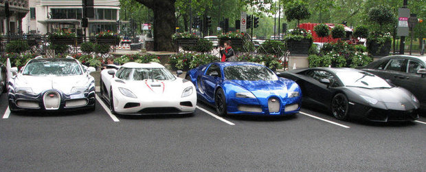 Super-combo in Londra: Veyron L'or Blanc, Agera R, Veyron cromat si nu numai