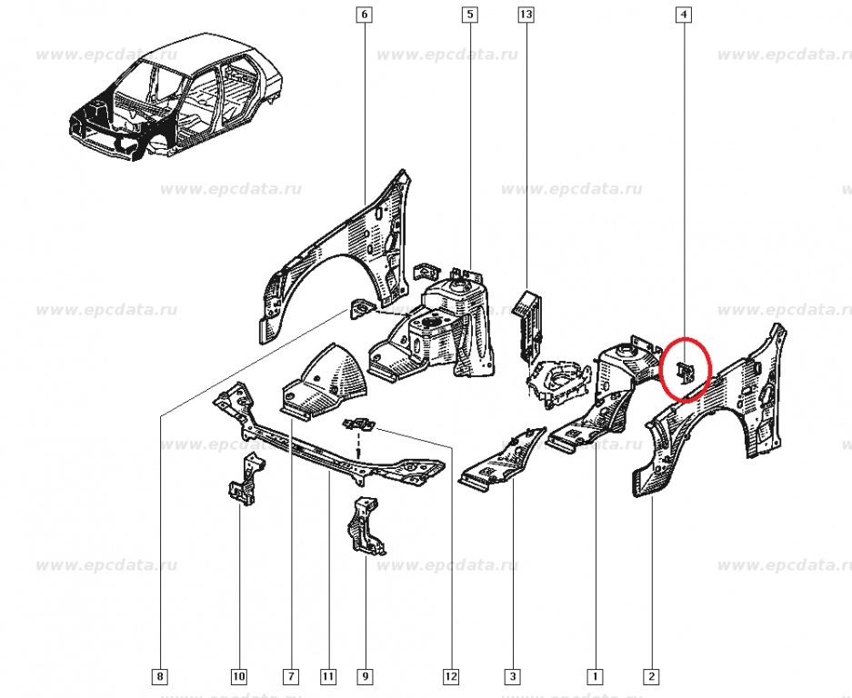 Suport aripa interior Renault Clio 1, partea stanga , Original 7750811633 Kft Auto