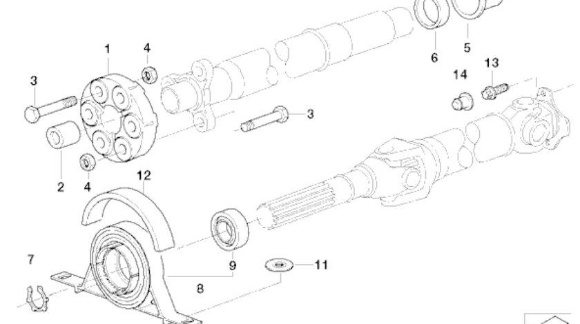 Suport ax cardanic BMW E46 (modelul cu un singur rulment) TOPRAN 26127501257