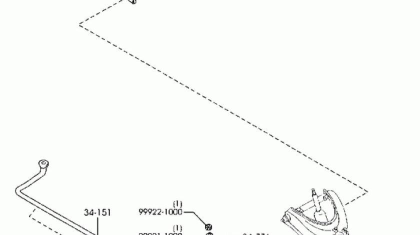 Suport bara torsiune punte fata Mazda B2500 (poz.34061) MAZDA OE UH74-34-T61