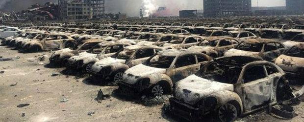 Sute de masini noi distruse de doua explozii uriase produse in China