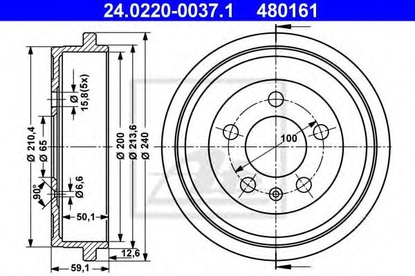 Tambur frana AUDI A2 (8Z0) (2000 - 2005) ATE 24.0220-0037.1 piesa NOUA