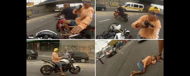 Tanar impuscat pentru ca a furat o motocicleta. ATENTIE, IMAGINI SOCANTE!