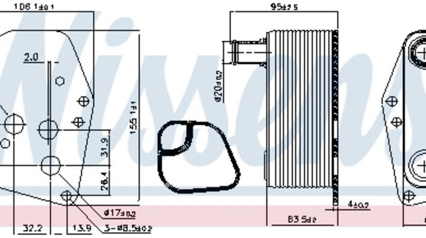 Termoflot radiator ulei BMW Seria 1 (E87), 3 (E46), 3 (E90), 3 (E91), 5 (E60), 5 (E61), X3 (E83) 2.0 d intre 2001-2012