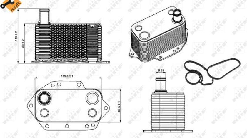 Termoflot radiator ulei (cu garnitura) BMW Seria 3 (E46), 3 (E90), 3 (E91), 3 (E92), 3 (E93), 5 (E60), 5 (E61), 6 (E63), 6 (E64), 7 (E65, E66, E67), X3 (E83), X5 (E53), X5 (E70), X6 (E71, E72) 2.5D/3.