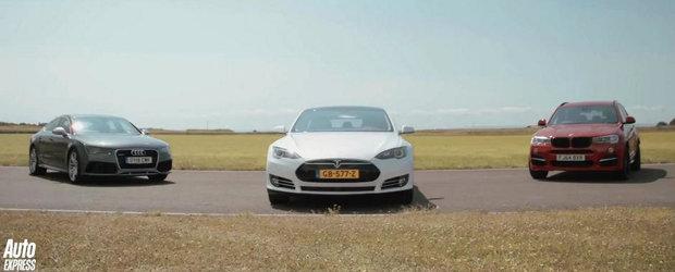 Tesla P85D, Audi RS7 si Alpina XD3 se intrec in cel mai inedit versus vazut vreodata