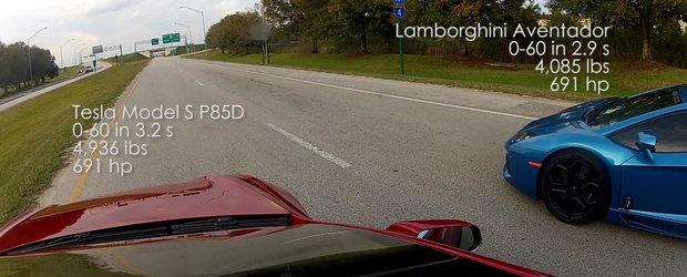 Tesla P85D vs. Aventador LP700-4, in linie dreapta. Cine castiga?