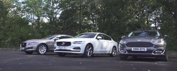 Test comparativ intre cel mai scump Ford Mondeo, Jaguar XF si Volvo S90