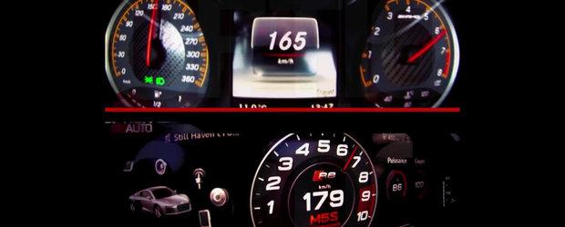 Test de acceleratie: Audi R8 V10 Plus vs. Mercedes AMG GT S
