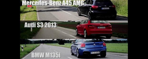 Test de acceleratie: Audi S3 vs BMW M135i vs Mercedes A45 AMG