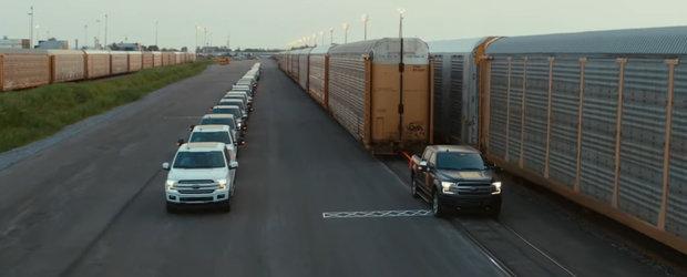 Test extrem pentru camioneta ELECTRICA de la FORD. A tractat cu succes 453.5 tone