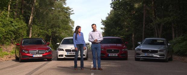 Testul asta va pune capat oricaror discutii. BMW Seria 5, Mercedes E-Class, Jaguar XF si Volvo-ul S90 puse fata in fata