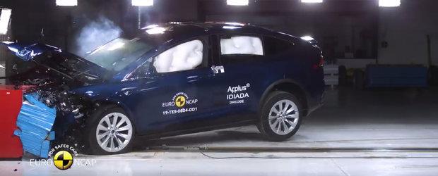 TESTUL pe care Euro NCAP l-a facut in premiera. Uite cum rezista la impact o masina TESLA Model X