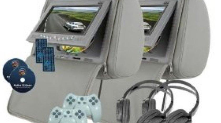 Tetiere AUTO CU DVD PNI HM700A G GRI Dvd Usb Sd PLAYER Divx HUSA ANTIFURT Jocuri Modulator Fm