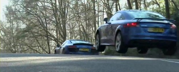 The Big Battle:  Audi TT-RS versus Audi R8 V10