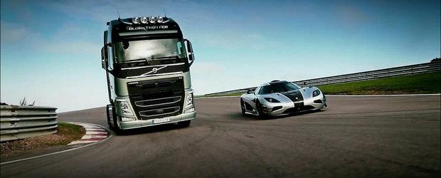 Tiff Needell si Volvo FH se dueleaza cu un Koenigsegg One:1