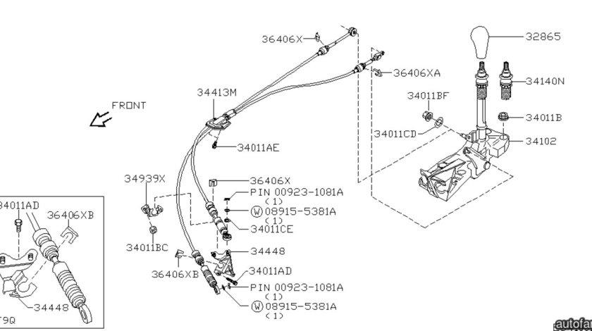 Timonerie cutie viteza Nissan Primera III NISSAN OE 34413BV021